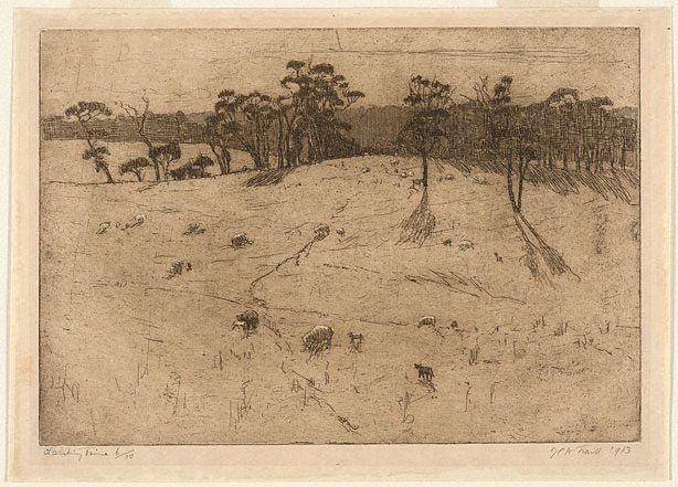 Lambing time, (1913) by Jessie Traill :: The Collection :: Art Gallery NSW