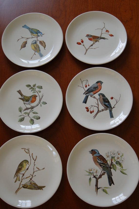 Set of 6 Villeroy Boch Bird Plates, Collectible Plates, Lunch Plates, Sandwich Plates - SOLD!