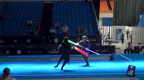 Real lightsaber fight (professional fencers.) (also click for the whole video.)