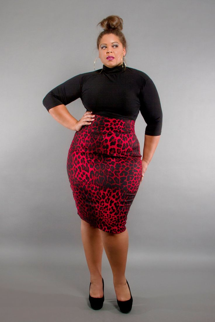 2bee8cb69e Black Plus size Women outfit with Skirt. via. Animal Print Knee Length  Fitted Skirt. via