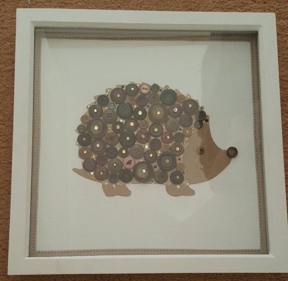 Handmade hedgehog picture made with vintage buttons!