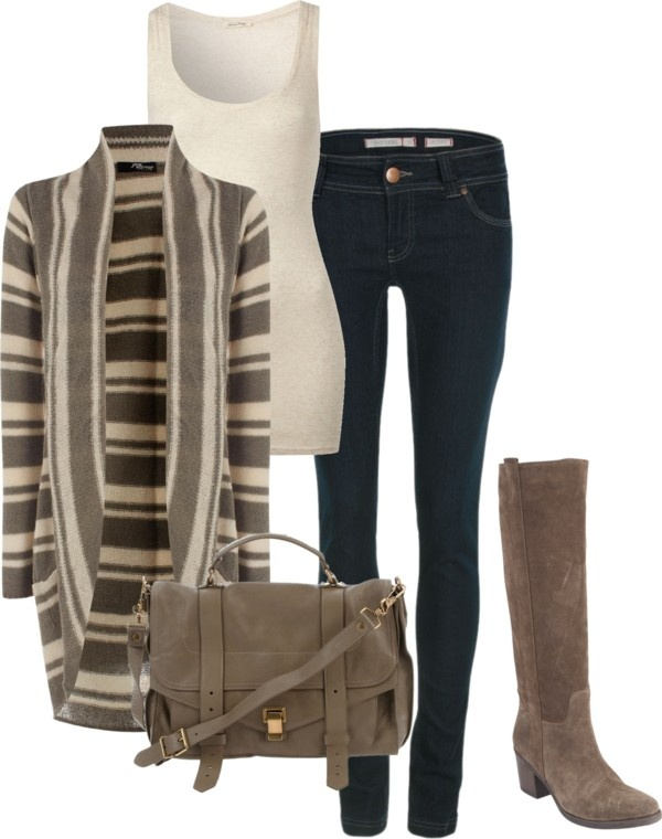 Fall fashion. I'm a sucker for a cozy open cascading cardigan and some good tall leather/suede boots!