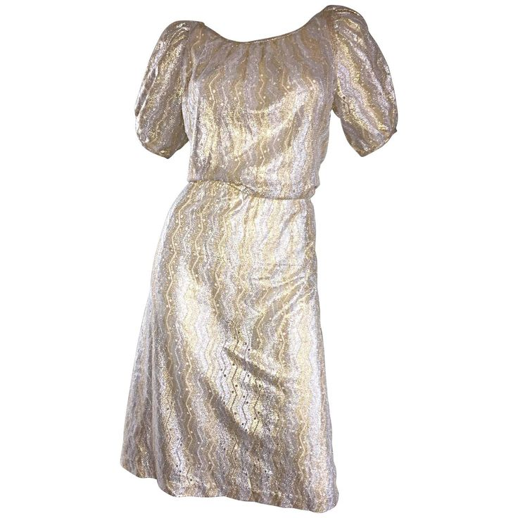 Vintage Sultana / Adini Silver and Gold Metallic Silk Crochet Short Sleeve Dress | From a collection of rare vintage day dresses at https://www.1stdibs.com/fashion/clothing/day-dresses/