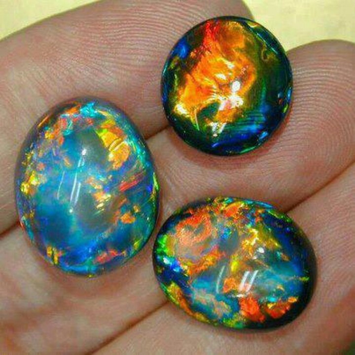 Australian Black Opals - like windows into the cosmos!
