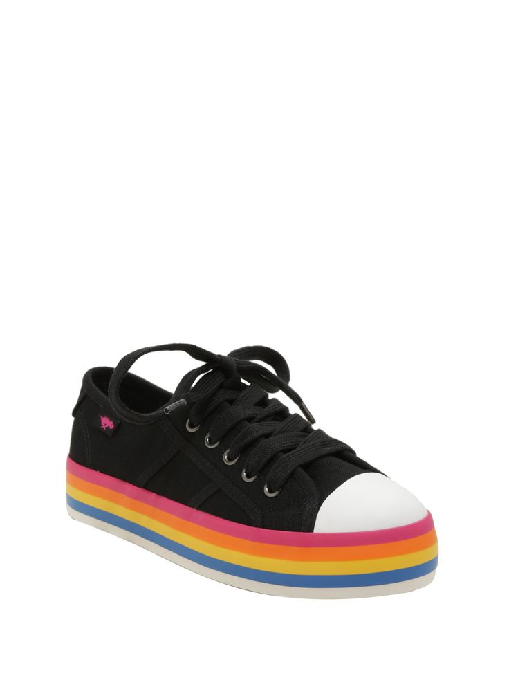 """<div>Put a little magic in your step with these black low-top sneakers from Rocket Dog! These canvas sneaks have a platform rainbow sole, so you can see what it's really like over the rainbow. Lace-up top.</div><div><ul><li style=""""list-style-position: inside !important; list-style-type: disc !important"""">1 1/4"""" platform</li><li style=""""list-style-position: inside !important; list-style-type: disc !important&..."""