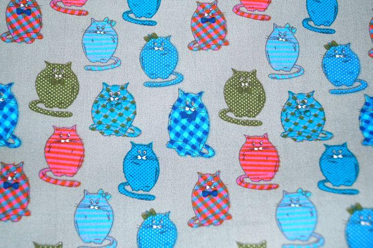 Stenzo15 7009-22 Cotton poplin poezen grijs/rood/blauw/groen