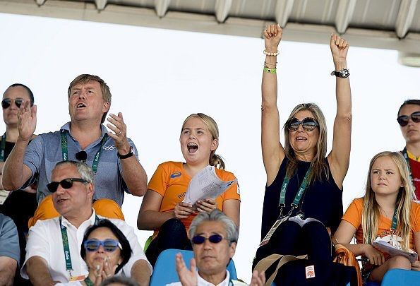 On 16 August 2016, King Willem-Alexander and Queen Maxima along with their daughters, Crown Princess Amalia, Princess Alexia and Princess Ariane of The Netherlands are seen in the stands during the Equestrian's Show Jumping of Netherlands' Jeroen Dubbeldam at the Olympics in Rio de Janeiro, Brazil.
