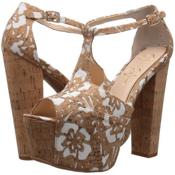 bb48546a7fa Jessica Simpson Dany (Natural White Floral Laser Cork) High Heels ( 88) ❤  liked on Polyvore featuring shoes