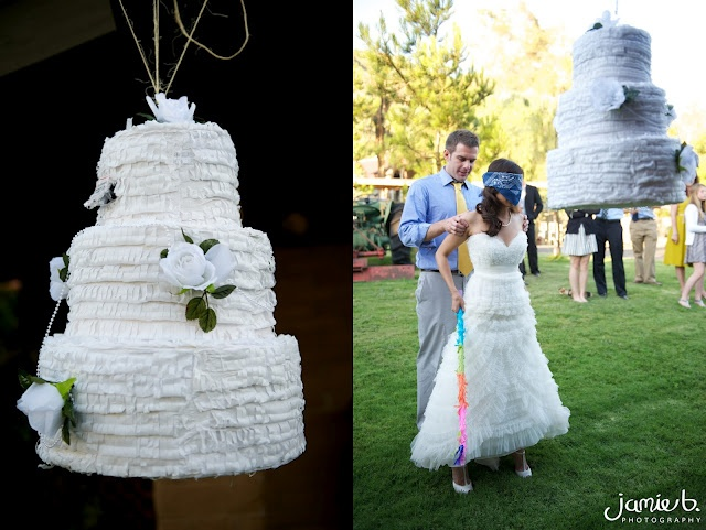Wedding Cake Pinata: This is seriously the BEST idea!! I have never seen this before, how fun!. Photo from www.jamiebphotography.com