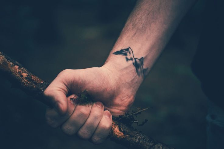 Mountain tattoo on wrist (indie, hipster, small, nature, folk)