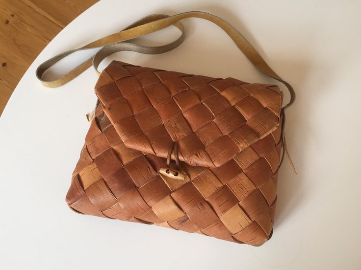 Vintage Swedish birch bark bag // Vintage Scandinavian shoulder bag by ScandiVintageShop on Etsy https://www.etsy.com/listing/235166662/vintage-swedish-birch-bark-bag-vintage