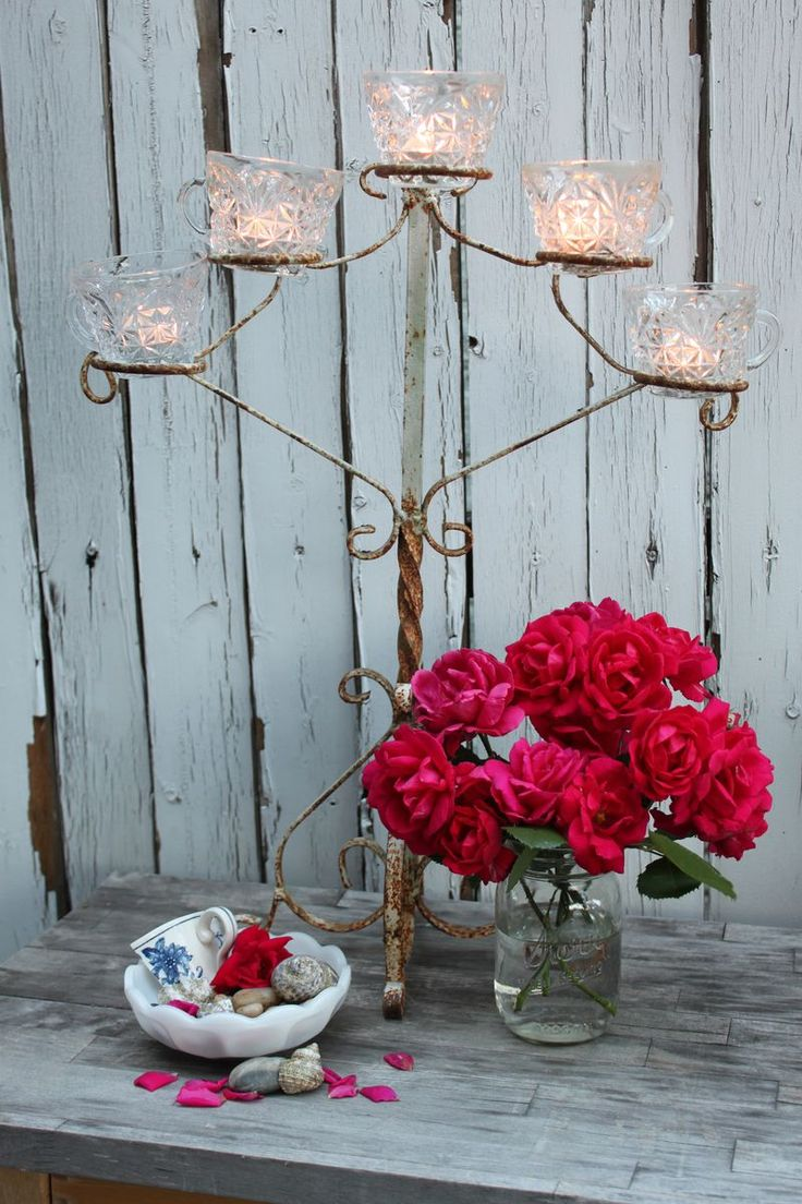 Love the punch cups for candle holders!