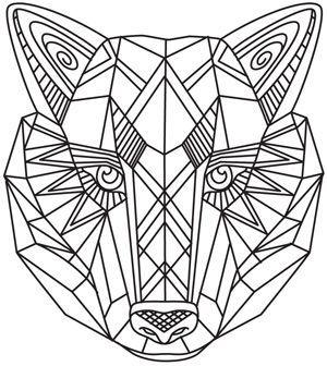 geometric wolf drawing - Google Search