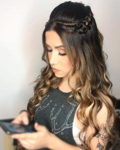 half up style quince braids