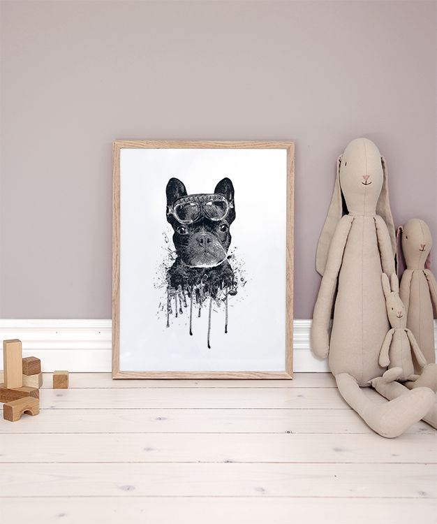 Cute children's poster of a dog | Modern for children and children's room of a bulldog