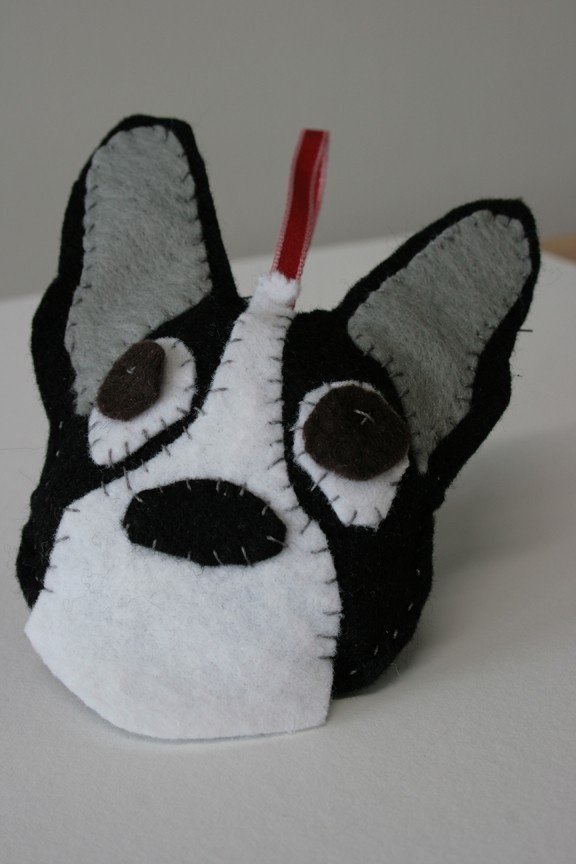 Felt Boston Terrier Ornament.