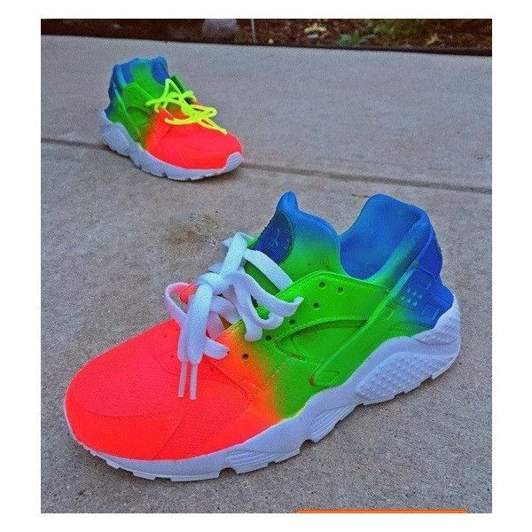 Tie Dye Neon Nike Air Huarache Customs Unisex. ($190) ❤ liked on Polyvore featuring shoes, athletic shoes, grey, sneakers & athletic shoes, tie sneakers, unisex adult shoes, multi color shoes, summer shoes, unisex shoes and rainbow shoes