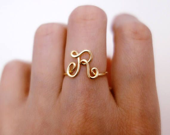 Initial 925 Sterling Silver Ring Letter Name Non-Adjustable Dainty Ring Initial Hammered Gold Vermeil Rings