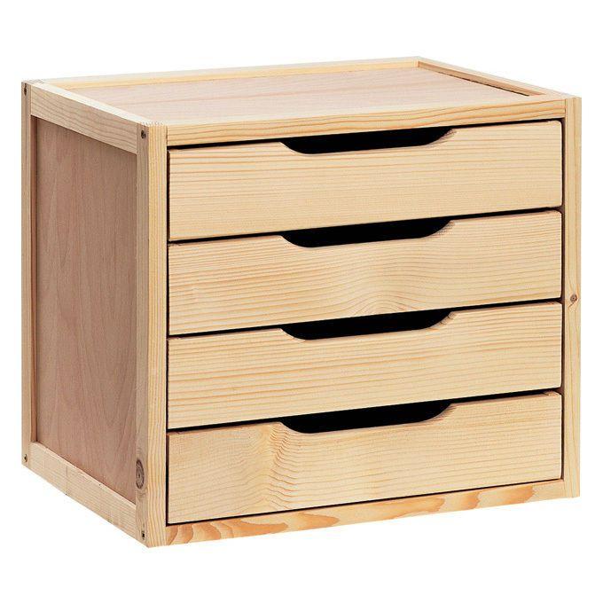 Cassettiera contenitore cabina armadio legno massello e compensato 4 cassetti