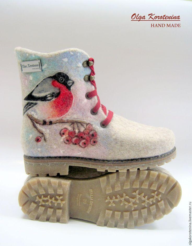 """Купить Валяные ботинки """"Красногрудые снегири"""" - бежевый, светло-бежевый, снегири, валяная обувь"""