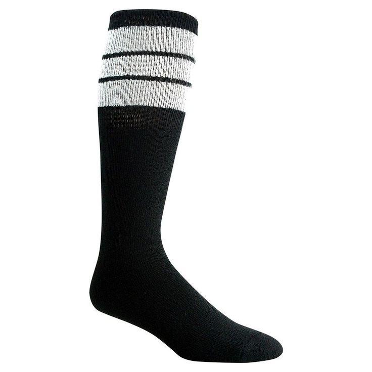 Wigwam Classic King Tube Men's Knee High Three Stripe Sock - (Black/White)