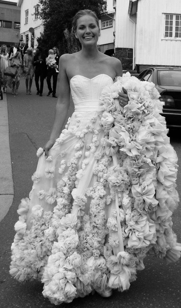 Maria Skappel // Leila Hafzi wedding dress.  sorry but there is just too much going on here, would weigh you down, etc.