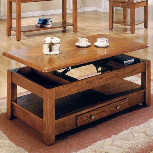 Steve Silver Nelson Rectangular Lift Top Cherry Or Oak Coffee Table With  Casters   Oak Pictures