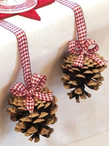 Hang pine cones at the edge of your tables. Bright idea!