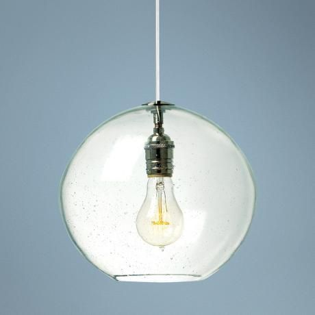 Lamps plus lbl isla clear nickel 9 3 4 wide pendant light 292