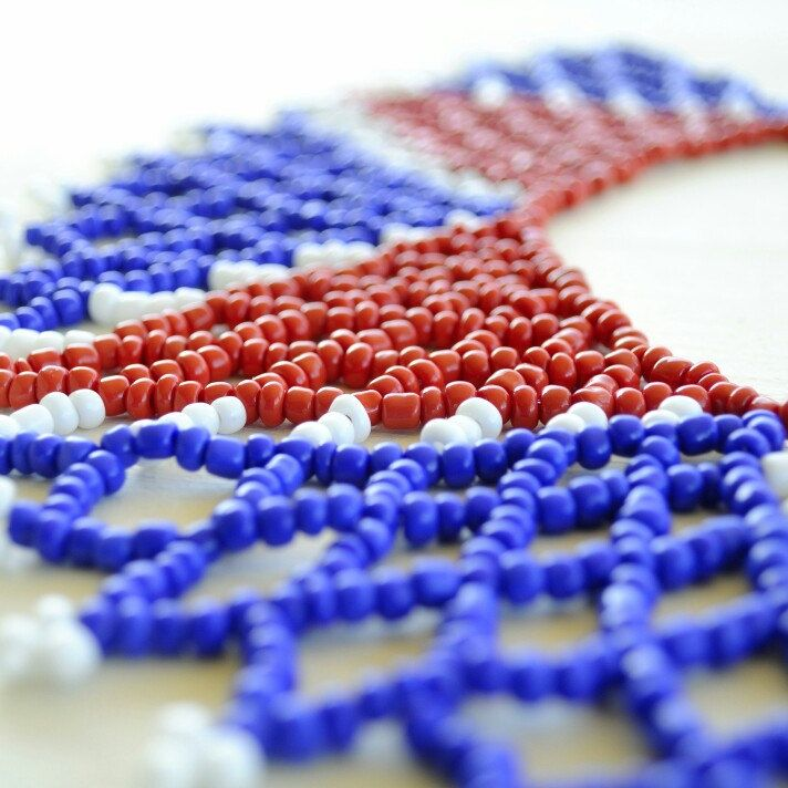 Our three top supporting nations are the USA, France, and the UK. With this necklace we honour all three, by displaying the colors of their national flags.