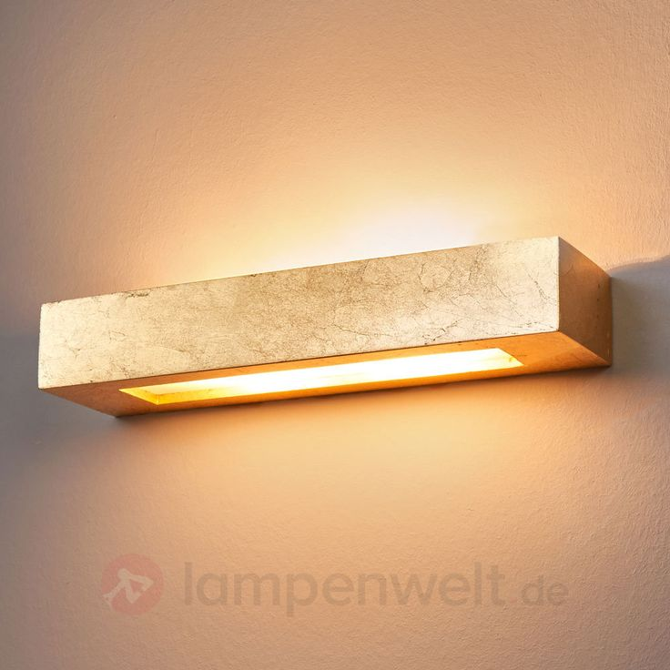 Eckige Gips-Wandleuchte Emina in Gold kaufen   Lampenwelt.de