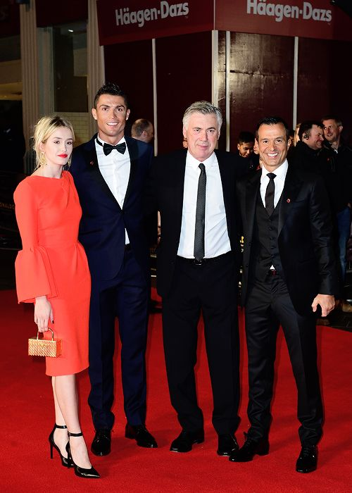 "madridistaforever: "" Cristiano Ronaldo, Carlo Ancelotti and Jorge Mendes attending the world premiere of Ronaldo at Vue West End Cinema in Leicester Square, London on November 9, 2015 """