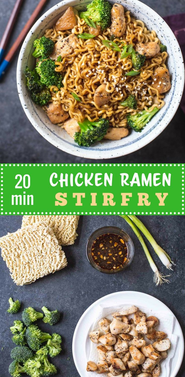 This is a basic recipe for a 20 minute stir-fry with chicken, broccoli, and ramen noodles. It's also totally adaptable. Don't eat chicken? Cubed tofu works great! Have other vegetables you prefer or need to use - swap them out for broccoli. #Ramen #Noodle