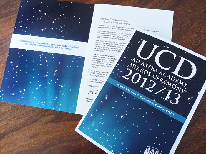 UCD Ad Astra Awards programme brochure