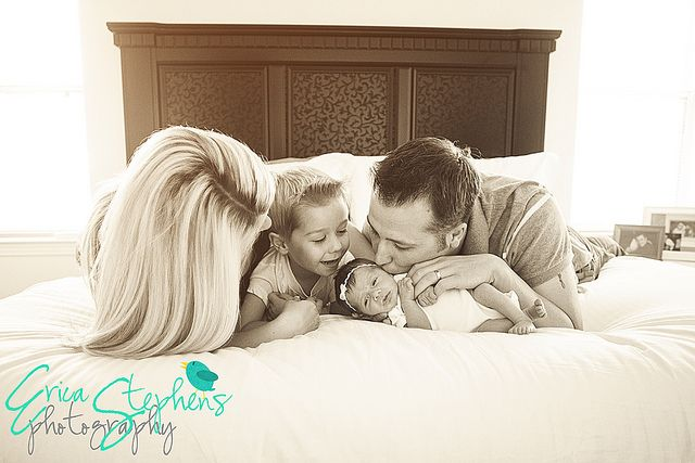In home newborn session.  Family photography.