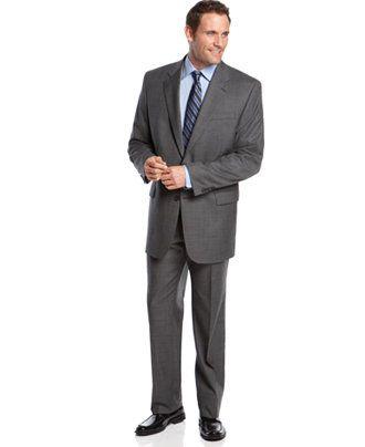 Lauren Ralph Lauren Grey Sharkskin Big and Tall Suit Separates - Suits & Suit Separates - Men - Macy's
