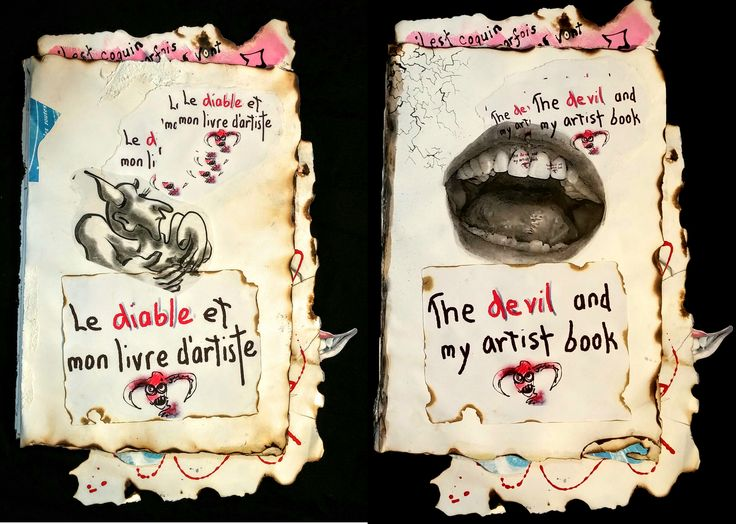 Title pages in French and in English.  Uneven edges were created using a blow torch and a water-filled spray bottle.