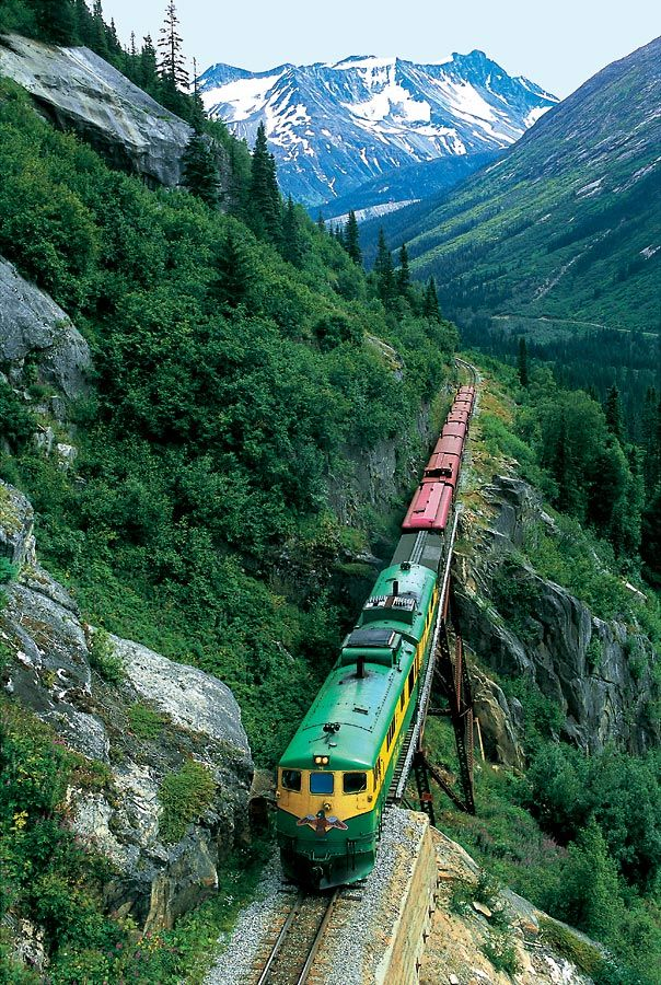 Skagway, Alaska: The White Pass and Yukon Route narrow gauge railroad, part of the area's mining past, is now in operation purely for the tourist trade and runs throughout the summer months.