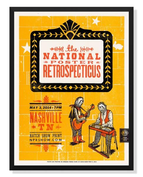 """Three color18x24"""" poster byHatch Show Print Made in USA. Frame Not Included."""