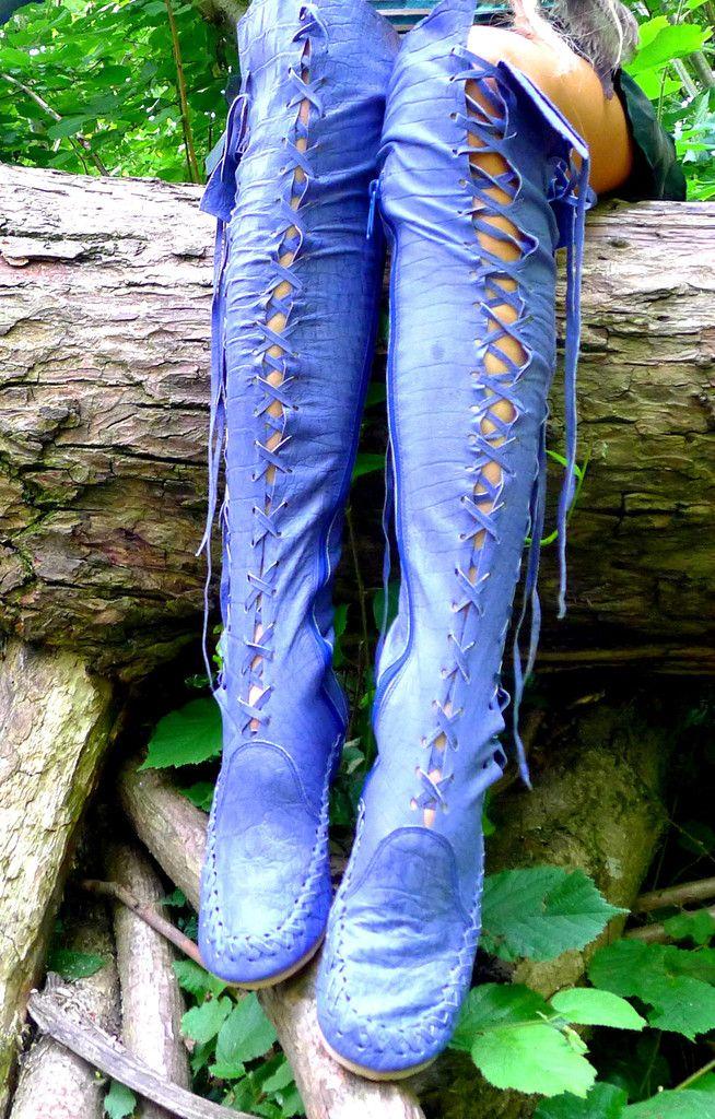 Dark Blue Croco Print Leather Knee High Boots