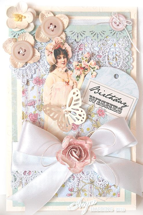 Inger Harding Shabby Chic collage for a handmade vintage greetings card or wedding.