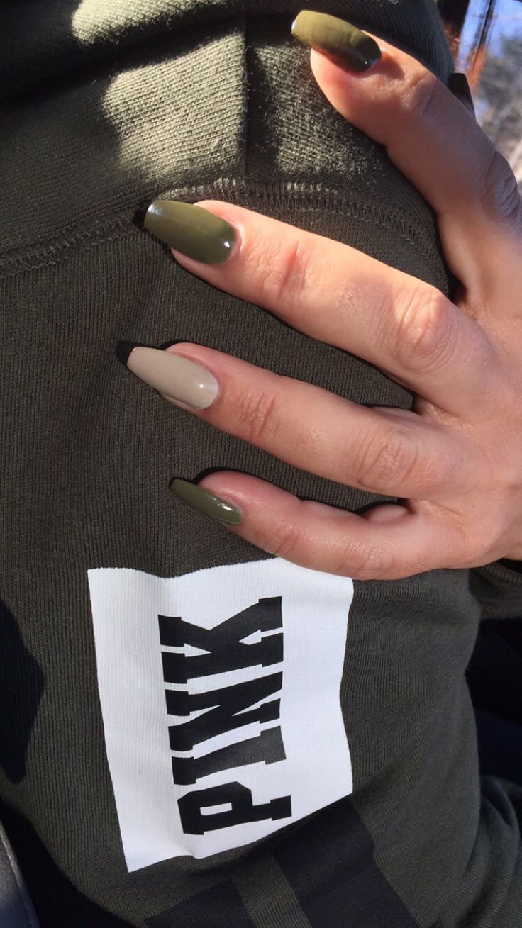 Olive Green Coffin Nails Nails Pinterest Manicures