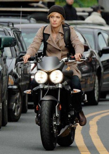 Angelina Jolie riding a Triumph Street Triple R; Redneck veiw, lanesplitting is just not a good idea, lanesplitting without proper scoot gear crazy.