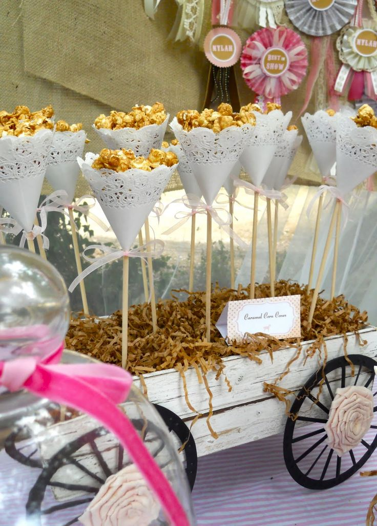 This party was an hodgepodge of ideas mixed into one very cute party. You could make these little flower looking popcorn holders using a little raffia, wooden skewers, and paper doilies.