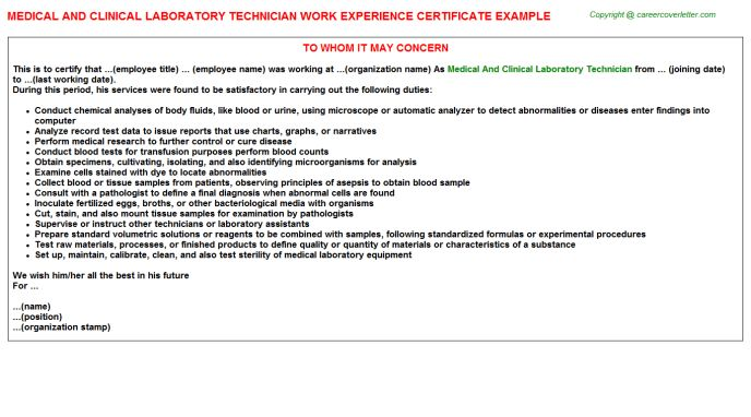 Medical and clinical laboratory technician work experience certificate Job Descriptions And Duties #SampleResume #ExperienceCertificateFormatLetter