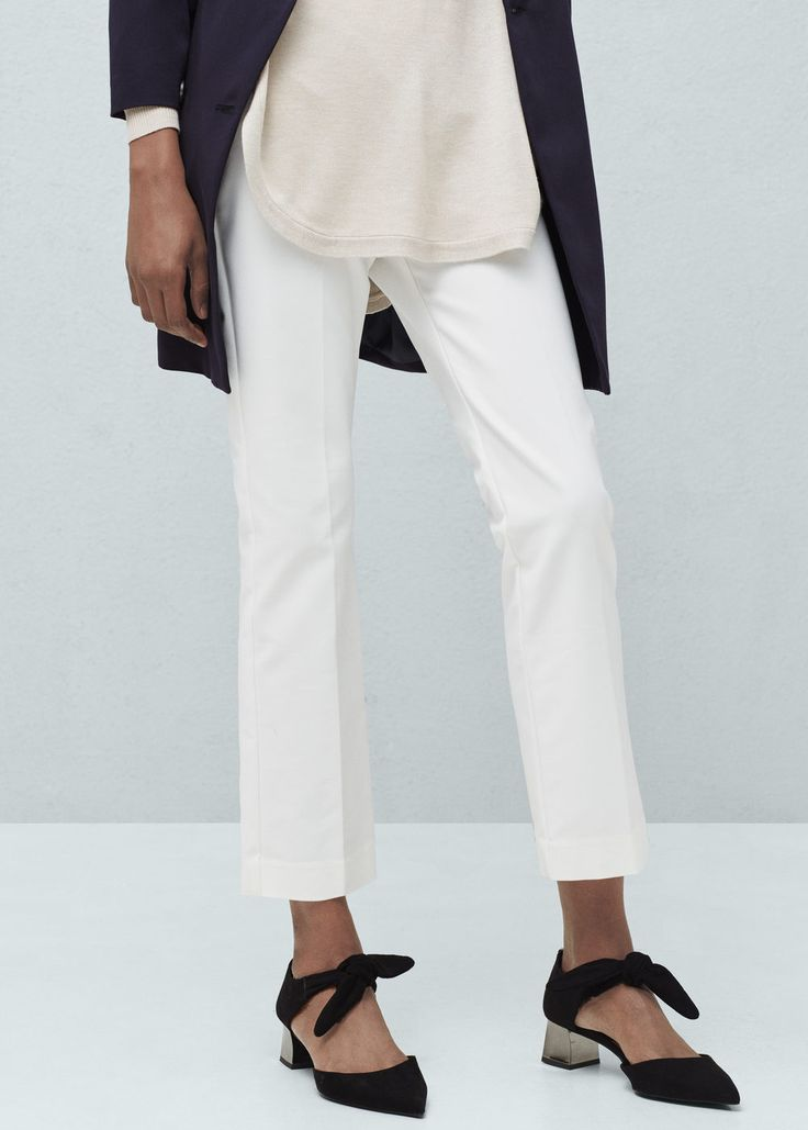 Stretch cotton-blend trousers - Bags for Woman | MANGO United Kingdom