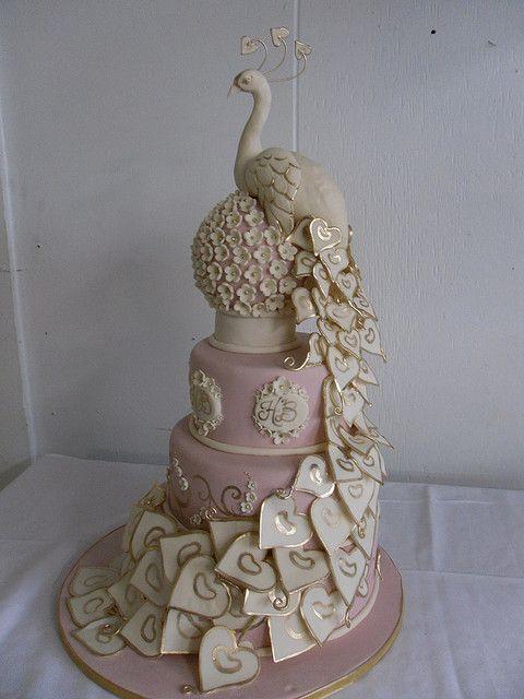 peacock wedding cake by Karen Portaleo of Highland Bakery