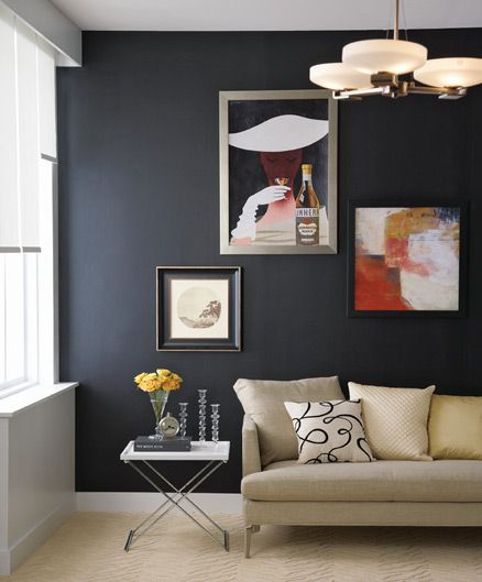 spectacular grey and yellow decorations. A painted black wall looks spectacular in the right room  15 best Decorating with Black images on Pinterest Base cabinets
