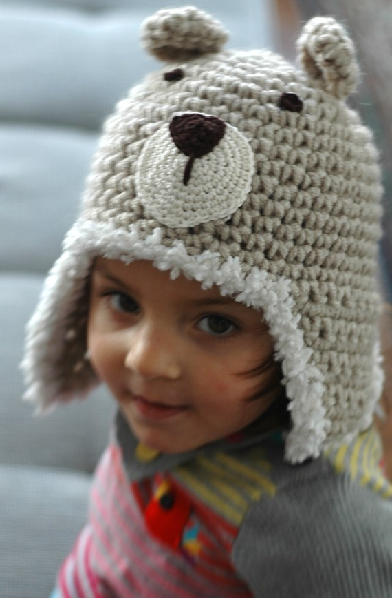Puffy Teddy Bear Earflap Hat