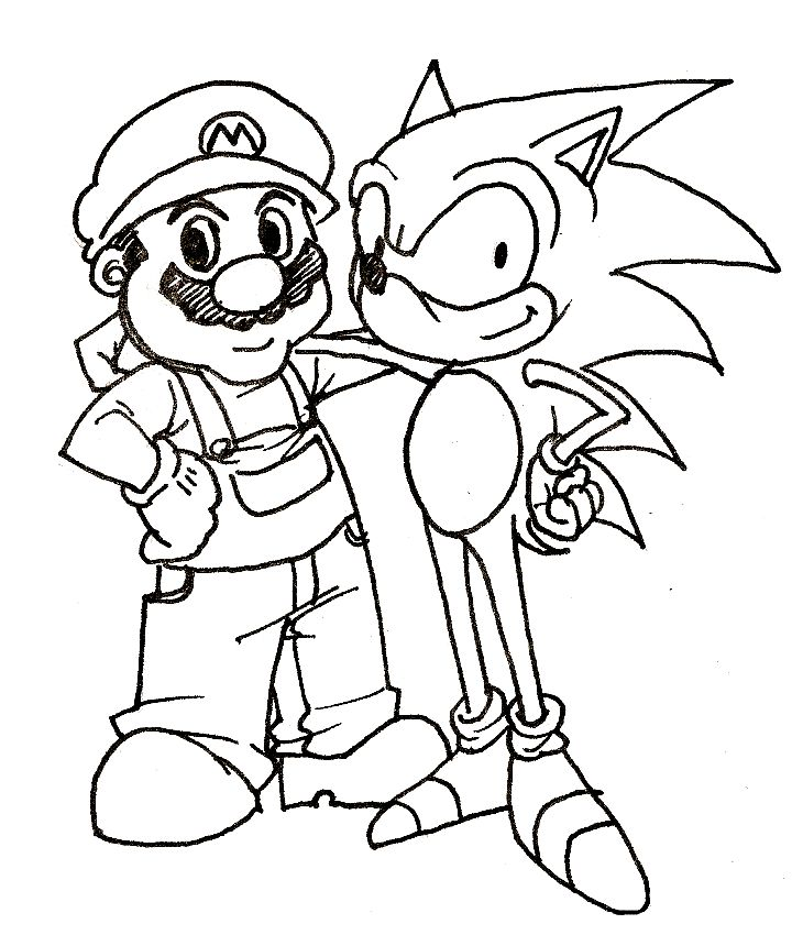 pages to print sonic and mario coloring pages to print - Colouring In Games